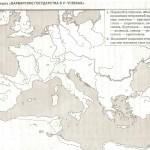 Контурная карта. Варварские государства в V-VI веках