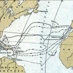 Схематическая карта четырех плаваний Колумба