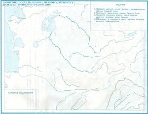 Памятники эпохи палеолита, мезолита, неолита на территории Средней Азии (контурная карта)