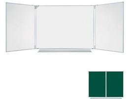 Магнитная доска с двумя дополнительными двусторонними створками (белые маркерные внутри, зеленые меловые снаружи)