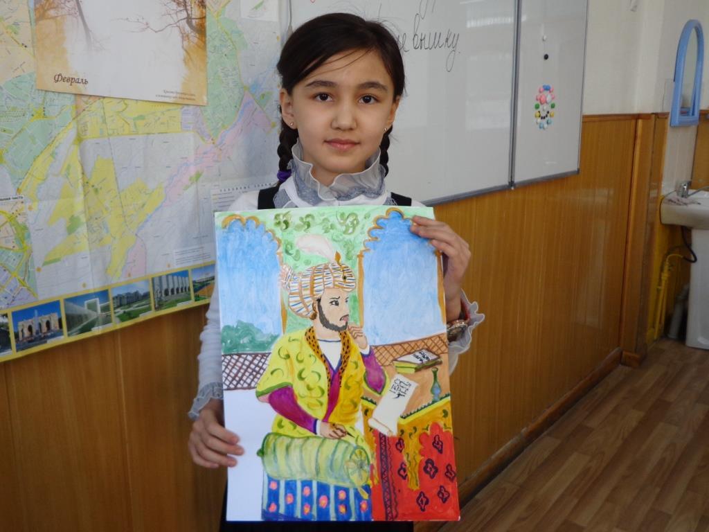 """Мохина Неъматова (5 """"Г"""") Портрет Бабура"""