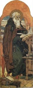 """""""Нестор-летописец"""". 1885-1893. (Автор картины Виктор Васнецов). Акварель. Бумага"""