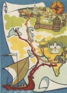 """Схема путешествия Афанасия Никитина - """"Хождение за три моря"""""""