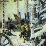 «В штыки! Ура! Ура!» («Атака») 28-го октября французы вступили в Смоленск и 31-го направились дальше по дороге к Красному. На этом переходе и разыгрался тот эпизод. Русские войска под начальством Милорадовича и принца Евгения Вюртембергского ударили солдат вице-короля Евгения Богарне. Вице-король хотя и пробился, воспользовавшись темнотою ночи, в Красное, тем не менее потерял около двух тысяч человек убитыми и ранеными, одно знамя и семнадцать орудий.