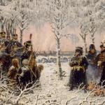 «С оружием в руках — расстрелять!» Наполеон, отвлекшись от костра, где он грелся с Мюратом, приговаривает партизан к смерти
