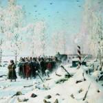 «На большой дороге. Отступление, бегство…» Большая дорога из Красного по направлению к Минску. Закутанный в шубу Наполеон возглавляет шествие.